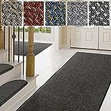 casa pura Teppich Läufer in zahlreichen Größen   Anthrazit, gepunktet   Qualitätsprodukt aus Deutschland   Teppichläufer mit GUT Siegel   Küchenläufer, Flurläufer (80x325 cm)