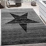 Paco Home Designer Teppich Stern Muster Modern Trendig Kurzflor Meliert In Grau Schwarz, Grösse:120x170