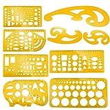 Meetory 9 Stück Architektur Schablone, Technische Zeichnungen Schablone, Französisch Kurve und Vorlage Lineal Set, Zeichenschablone Technisches Zeichnen für Schüler Büro