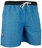 GUGGEN Mountain Badehose für Herren Schnelltrocknende Badeshorts Style-6 mit Kordelzug Beachshorts Boardshorts Schwimmhose Männer kariert Farbe Blau M