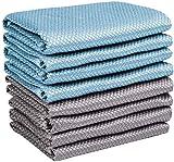 Airlab 8X Mikrofasertücher Reinigungstücher Lappen Gläsertuch für Auto, Fenster, Küche, Brille & Geschirr, 40x30 cm, Blau und Grau