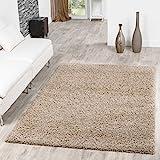 T&T Design Shaggy Teppich Hochflor Langflor Teppiche Wohnzimmer Preishammer versch. Farben, Farbe:beige, Größe:Ø 160 cm Rund