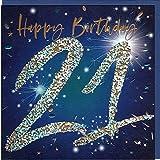 Belly Button Designs Glückwunschkarte zum runden 21. Geburtstag mit Prägung, farbiger Folie und passendem Briefumschlag BE118