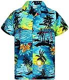 V.H.O. Funky Hawaiihemd, Kurzarm, Surf, türkis, XL