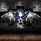 AWER Leinwandbild 5 tlg Mural Foto Motiv auf Künstler U.S Air Force Army Logo Leinwand Wandbild Wohnzimmer Wanddekoration 5 Stück Poster