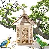 Vogelfutterhaus zum Aufhängen Holz Futterhaus für Vögel Vogelfütterer Vogelfutterspender für Kleinvögel Vogelfutterstation mit Silo Parrot Futterautomat Draußen Vogel-Futterhaus-Bausatz aus E