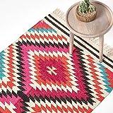 Homescapes Kelim-Teppich/Vorleger Manila, handgewebt aus Wolle/Baumwolle, 90 x 150 cm, bunter Wollteppich/Baumwollteppich mit geometrischem Rautenmuster und Fransen