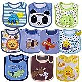 Yafane Baby Lätzchen Wasserdicht Weich 10er Babylätzchen aus Baumwolle mit Klettverschluss für Baby Jungen Kleinkinder