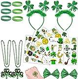 37-teiliges Party-Zubehör für St. Patrick's Day inkl. Kleeblatt-Haarreifen, Perlen-Halskette, Pailletten-Schleife, temporäre Tattoos und Gummi-Armbänder für St. Patricks-Partygeschenke