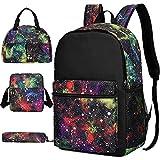 Laptop-Rucksack-Set mit Sternenhimmel-Motiv, 4-teilig, Reiserucksack, Lunchbox, Stiftbox, Schultertasche für Damen und Herren
