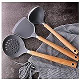 QIUDAN Silikon-Kochutensilien-Küchengeräte-Set-Non-Stick-Holzgriff mit Aufbewahrungskasten-Kücheng