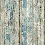 Klebefolie Möbel Selbstklebend Retro Stil Holz Blau 45cmX2m Wasserdicht Möbelfolie Tapeten Dekofolie Vinylfolie Küchenfolie Möbelsticker Aufkleber Wand Schlafzimmer Schränke Küchenschrank Fenster