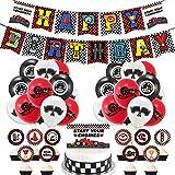 Rennwagen Geburtstag Party Deko YUIP 38 Stücke Partydekoration Luftballons Set inklusiv Rennwagen Alles Gute zum Geburtstag Banner und Karierten Rennwagen Luftballons zum Thema Rennwagen Party Zubehör