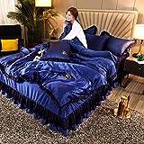 Bettbezug-Set,Bett Rock vierteiliges Set, Bettbezug aus gewaschener Seidenspitze, rutschfeste Frühlings- und Sommerbettwäsche aus Eisseide-D_1,5 m Bett (4 Stück)