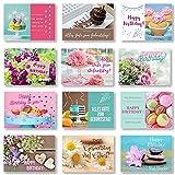 Domelo Geburtstagskarten 12er Set mit Umschlag, Happy Birthday Postkarten, Kraftpapier Karten zum Geburtstag, Geburtstagskarte für Mann/ Frau/ Kinder, Postkarte als Grußkarten, (Set 4)