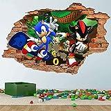 DDSYJ 3D Wandaufkleber Sonic And Shadow Hedgehog 3D Wandaufkleber Wandaufkleber Abnehmbare Aufkleber Vinyl Aufkleber Kinderzimmer Wandkunst Kinder Cartoon Dekoration