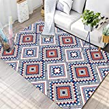 Teppiche Spiel Teppich Blauer gelber Grauer geometrischer Diamantgittermuster-Wohnzimmerteppich esszimmer Teppich Anti rutsch für Teppich 120*170cm