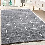 Paco Home Designer Teppich Wohnzimmer Modernes Design In Grau Weiß Meliert, Grösse:160x230 cm