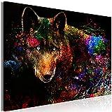 murando - Bilder Tiere 120x80 cm Vlies Leinwandbild 1 TLG Kunstdruck modern Wandbilder XXL Wanddekoration Design Wand Bild - Wolf Abstrakt Farbflecken Textur g-C-0288-b-a