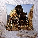 N\A Dekorative Kissenbezüge für Schlafsofa Couch Blue Rush Fort Zion Vintage Holz Longhorn Wagen Western Saloon Antikes Gefängnis Indian Century Old Soft Kissenbezug