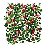 Einziehbarer Zaun Künstlicher Zaun, Künstlicher Holzzaun Mit Blumen-Sichtschutzzaun, Geeignet Für Wanddekoration, Zaungitter, Sichtschutzhecken