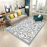 Teppiche Home Modernes Design Teppich Blaues braunes cremefarbenes Blumenmuster für Kinder Schlafzimmer Kinderzimmer Home Decor 120X160CM (47'' x 63'')