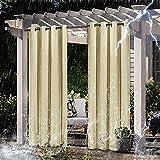 ADELALILI Outdoor Vorhang 2er Set Blickdicht Wasserabweisend Gartenlauben Balkon-Vorhänge Gardinen Verdunkelungsvorhänge mit Schlaufen, Vorhang Wasserdicht für Pavillon Strandhaus, 2 Panele