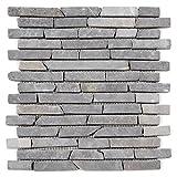 Divero 11 Fliesenmatten Naturstein Stäbchen Mosaik Fliesen aus Marmor für Wand und Boden grau á 29 x 32 cm