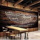 Tapete, 3D-Stereo-Buchstabe, Holzmaserung, Restaurant, Café, Vintage-Stil, Wandgemälde