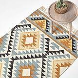 Homescapes Kelim-Teppich/Vorleger Agra, handgewebt aus Wolle/Baumwolle, 90 x 150 cm, bunter Wollteppich/Baumwollteppich mit geometrischem Muster und Fransen, Gold-grau-schwarz