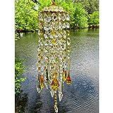 Beifeng Windspiel aus grünem Aurora-Kristall, bernsteinfarben, Glas-Hänge-Ornament, Dekoration für Haus und Garten