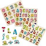 YAWJ 3 Bunten Steckpuzzle Holzpuzzle, Großbuchstaben Briefe/Kleinbuchstaben Briefe/Zahl Holz Peg Puzzles Früherziehung Spielzeug Kinder holzpuzzle