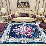 Xiaosua Teppich Wohnzimmer Blue. Salon Teppich Blaue floral Vintage Muster dauerhafte Teppich Anti-Milben Wohnzimmer möbel 120x160cm couchtisch groß 3ft 11.2''X5ft 3''