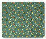 Sonne und Mond Mauspad, lustige und glückliche Kinder Raummuster schlafen lächelnde Zeichen Cartoon-Stil, Rechteck rutschfeste Gummi-Mauspad, Standard mehrfarbig
