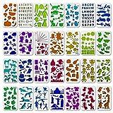 Tritart Schablonen Set I 28 Schablonen aus Kunststoff I Zeichenschablonen I Muster für Bullet Journal & Fotoalbum oder Geschenk-Karten I Scrapbook-Zubehör I DIY Projekte