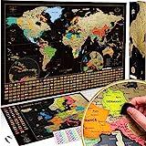 Weltkarte zum Rubbeln + BONUS Deluxe Europa Karte. Das Komplette-Set mit allen Accessoires und Länder Flaggen. Das perfekte Premium Geschenk für alle Reiseliebhaber.