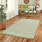 Pergamon Baumwolle Natur Teppich Cayenne Grün Bunt Meliert in 6 Größ