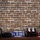 3D Steintapete Braun Steinoptik Selbstklebend Möbelfolie Wandverkleidung Stein Mauer Klebefolie Wanddekor Tapete Ziegelstein für Wand Tür Zimmer Möbel Vinyl 45 x 500