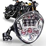 Motorrad Scheinwerfer,Zusatzscheinwerfer Universal-Motorradscheinwerfer mit Halterungsklemmröhren mit Umfang von 97,4 bis 135 mm Passend für Harley (Color : Silver)