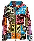 Shopoholic FASHION DAMEN Stonewashed bestickt Elfe Jacke mit Kapuze - Mehrfarbig, Multi, X-Large
