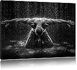 Bodybuilder im Regen, Format: 100x70 auf Leinwand, XXL riesige Bilder fertig gerahmt mit Keilrahmen, Kunstdruck auf Wandbild mit Rahmen, günstiger als Gemälde oder Ölbild, kein Poster oder Plakat