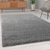 Paco Home Shaggy Hochflor Langflor Teppich Sky Einfarbig in Grau, Grösse:150 cm Quadrat