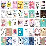 HOWAF 40 Geburtstagskarten Set Grußkarten Glückwunschkarten zum Geburtstag, Jubiläum, Baby, Hochzeit, Danke, Glückwünsche, Freundschaft, Sympathie, Ermutigung, mit Briefumschlag