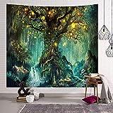 Zodight Baum des Lebens Wandteppich, Wandbehang Wandtuch Wasserfälle mit Elfen Unter Altem Verzaubertem Baum, Wandteppich Psychedelic Wald Wanddeko für Schlafzimmer Wohnzimmer Wohnheim