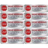 10x Keine Werbung Aufkleber - Schild – Folie - Sticker (Stop Bitte Keine Kostenlose Zeitung, Reklame, Flyer, Handzettel, Wurfsendungen, Wochenblätter, Werbung) für den Briefkasten in Edelstahl-Optik …