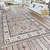 Paco Home Outdoor Teppich Küchenteppich Terrasse Vintage Oriental Muster Beige Orange, Grösse:60x100