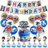 REYOK Beyblade Party Dekoration Set Deko Jungs Geburtstag Party Dekoration Banner & Ballons Kucheneinlage Spiel Partyzubehör Latexballon(44 Stück)