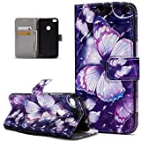 Kompatibel mit Schutzhülle Huawei P8 Lite 2017 Hülle Handyhülle,3D Bunte Gemalte Schmetterlings Muster PU Lederhülle Flip Ständer Wallet Handy Hülle Tasche Handy Tasche Schutzhülle,Lila Schmetterling