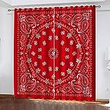 LWXBJX Gardinen Verdunkelung Vorhänge Blickdicht - Mandala rote Kunst - 3D Druckmuster Öse Thermisch isoliert - 234 x 230 cm - 90% Blickdicht Vorhang für Kinder Jungen Mädchen Spielzimmer