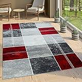 Paco Home Designer Teppich Kariert Kurzflor Marmor Optik Meliert Modern Grau Schwarz Rot, Grösse:160x220